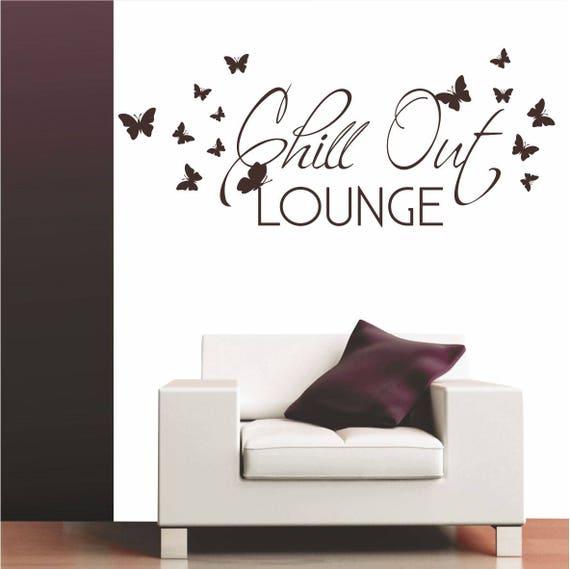 Chill Out Lounge Wandtattoo Schmetterling Wohnzimmer Buro Etsy