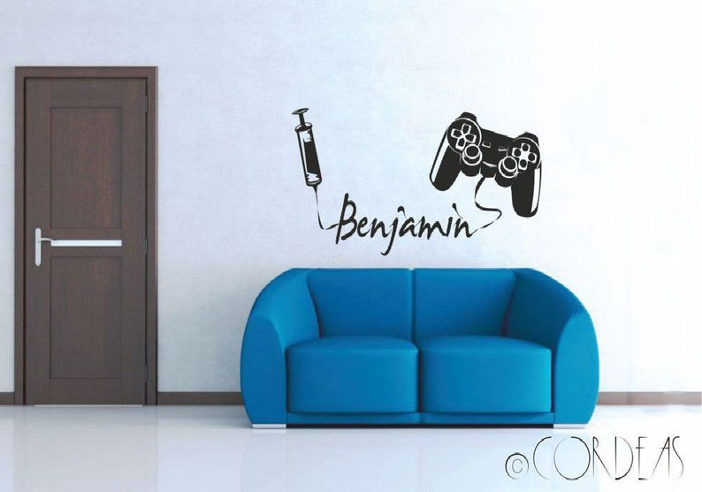 Addicted game player Custom Vinyl Wall decal Name Gamer Console Gaming Wall  Art Sticker Mural Video Games Play Player Wallsticker Decor