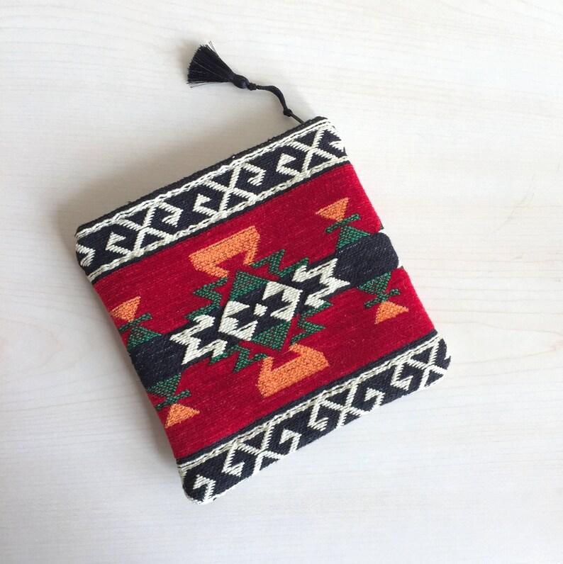 Red Zipper Pouch,Carpet Zippered Pouch,Woven Zipper Pouch,Red Bag,Black Makeup Bag,Boho Mini Bag,Boho Zipper Pouch,Red Coin purse
