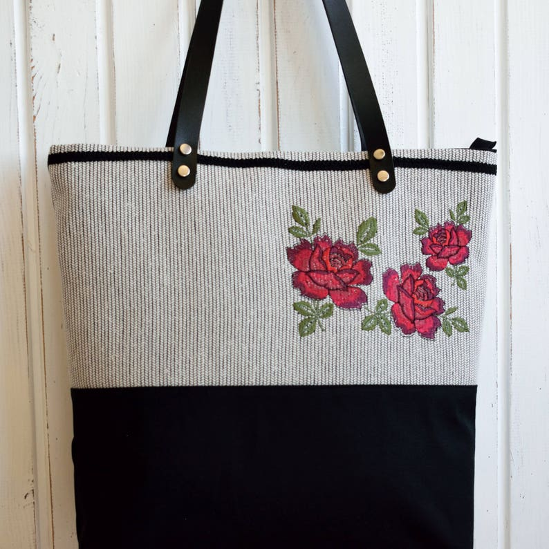 Embroidered Tote,Floral Tote,Black Canvas Tote,Embroidered Rose,Embroidered Handbag,Zippered Tote,Leather Strap Tote,Fabric Tote,Fabric Bag