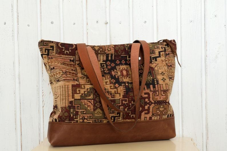 Zippered Tote Bag Zippered Tote,,Black Zip Tote,Leather Strap Tote,Boho Tote Bag,Carpet Tote,Fabric Tote,Kilim Tote Bag Carpet Tote Bag