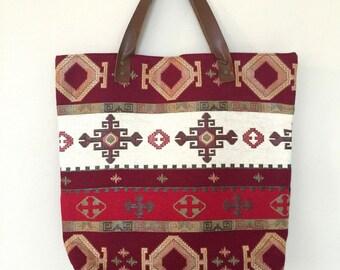 Ethnic tote Bag,Boho Carpet Tote Bag,Turkish Kilim Tote,Leather Strap Tote Bag,Boho Tote Bag,Carpet Tote,Gypsy Tote Bag,Bohemian Tote Bag