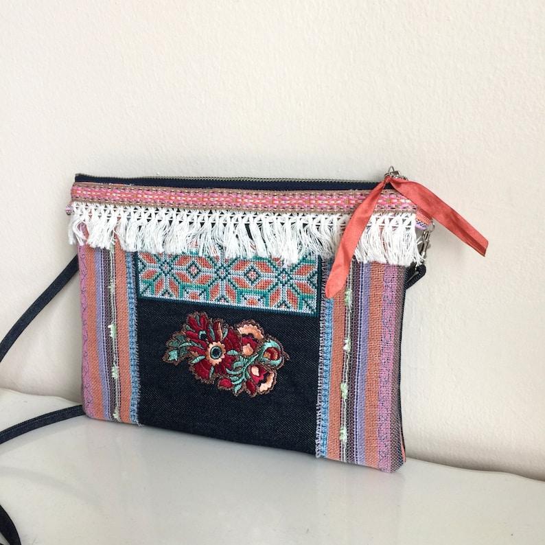 Embroidered Crossbody Bag,Jean Crossbody Bag,Boho Messenger Bag,Blue Crossbody,Embellished crossbody bag,Embroidered bag,Embroidered Clutch