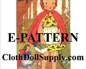 """E-Pattern – Little Red Riding Hood -  20"""" Doll Sewing Pattern #EP 172"""