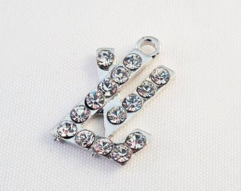 """ITL22 - Charm pendant silver with Rhinestone initials of the letters """"LV"""" 20mm X 18 mm claw fashion luxury brand"""