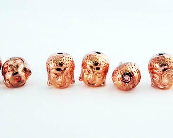 ALZ5T - Beads well Intercalaires head Buddha smiling happy plate gold Rose / Happy Smiling Buddha Spacer Beads Rose Gold