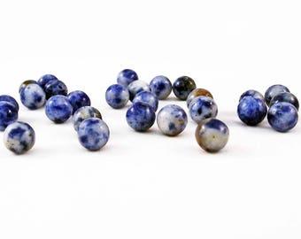 PDL153 - Set of 10 beads stones fine patterns natural blue white cloud sky Voyage 6mm