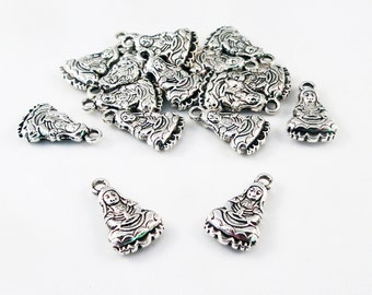BCP44 - Buddha Yoga Meditation Zen silver charms / Antiqued Vintage Silver Buddha Statute Double-Sided Charms