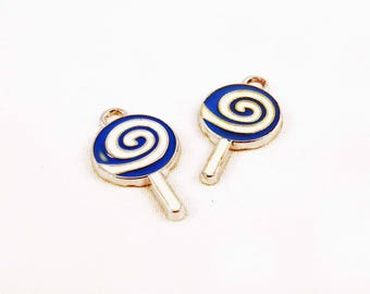 HEV39 - set of 2 round swirl candy lollipop enamel charms blue and white