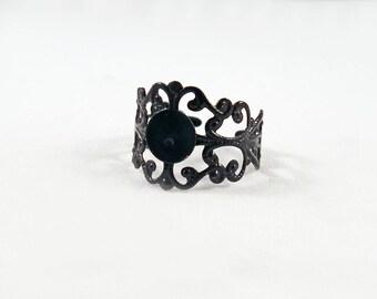 SB25 - Vintage lace pattern black filigree ring finding