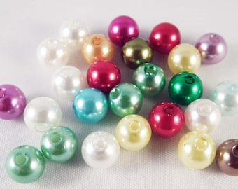 PAC08 - 50 round acrylic beads of 8mm in diameter, mixed colors.