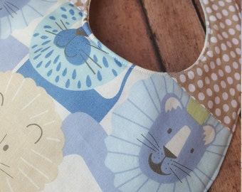 Reversible Baby Bib with Lions and Polka Dots