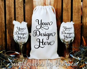 Download Free Mockup * Wine Bag * Wine Glasses * White Cotton Canvas * Blank * Photo PSD Template