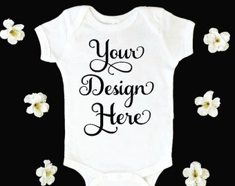 Download Free Mockup * Baby * Infant * Bodysuit * White * Photo * Blank * Advertising PSD Template