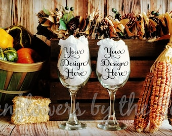 Download Free Mockup * Wineglasses * Fall * Autumn * Thanksgiving * Halloween * Photo * Blank PSD Template