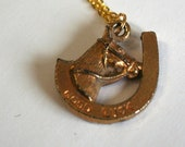Vintage good luck charm pendant necklace, gold horse shoe pendant, vintage horse shaped pendant
