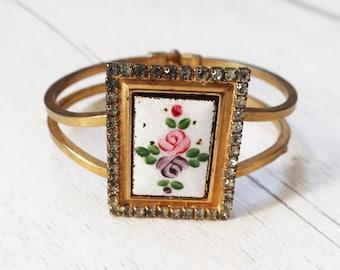 Guilloché gold cuff floral bracelet, rose pattern bracelet, vintage gold enamel bracelet