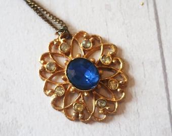 Vintage gold pendant, vintage blue stone pendant, vintage large gold pendant