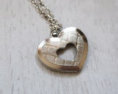 Vintage Silver heart necklace, vintage heart shaped pendant, vintage valentines gift