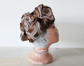 Vintage brown and beige turban, vintage brown hat, vintage straw hat, vintage wedding hat