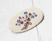 Hand painted floral brooch, pottery vintage brooch, vintage ceramic painted brooch