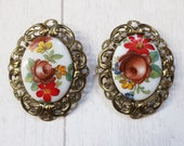 Hand painted floral brooches, West German vintage brooch, vintage ceramic painted brooch