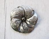 Silver tone flower brooch, vintage silver flower pin, vintage silver flower brooch
