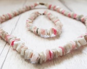 80s shell bracelet and necklace, pink shell Necklace, pink shell Bracelet, pink shell Jewellery Set