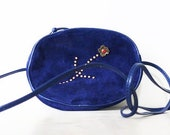 80's blue suede evening bag, vintage blue Italian handbag, vintage 1980s blue suede shoulder bag