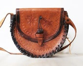 Vintage tooled leather bag, vintage brown leather purse, brown leather shoulder bag
