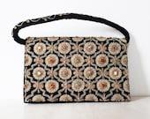 Vintage jewelled evening bag, vintage seed bead bag, vintage black velvet purse, jewelled evening purse