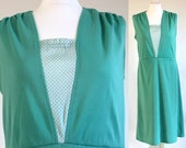 Green 80s polka dot dress, green 80s new wave dress, mint green vintage summer dress