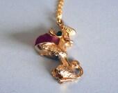 Vintage poodle pendant, metal poodle necklace, vintage poodle figurine pendant
