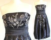 80s puffball cocktail dress, navy blue bridesmaid dress, vintage embroidered dress, puffball skirt dress