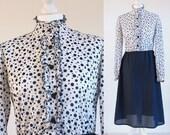 Blue 60s mod dress, 1960s blue polka dot dress, blue 1960s mod dress