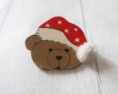 Vintage Christmas teddy brooch, vintage teddy bear brooch, vintage xmas brooch