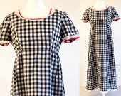 Vintage 1970s black & white gingham dress, vintage check dress, vintage gingham maxi dress, vintage summer dress