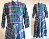 80s blue checked rockabilly dress, blue plaid dress, tartan tea dress, button up shirt dress