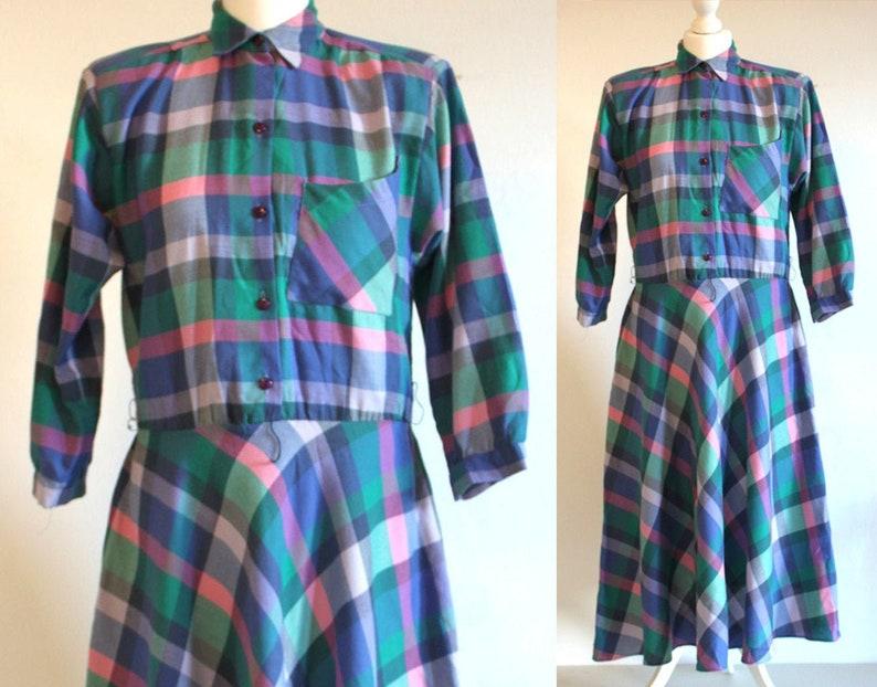 80s blue checked rockabilly dress blue plaid dress tartan image 0