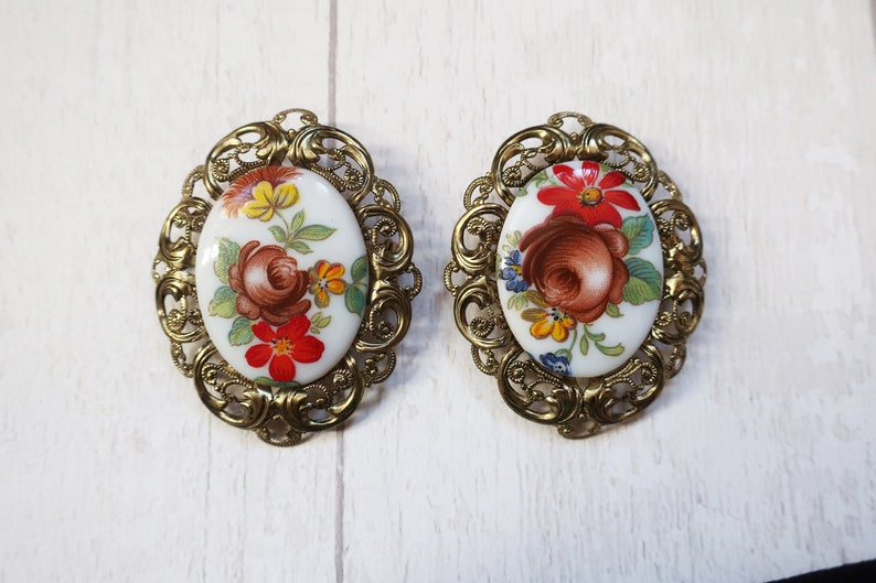 Hand painted floral brooches West German vintage brooch image 0