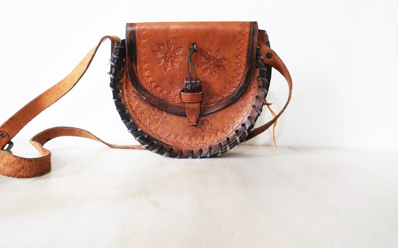Vintage tooled leather bag vintage brown leather purse brown image 0
