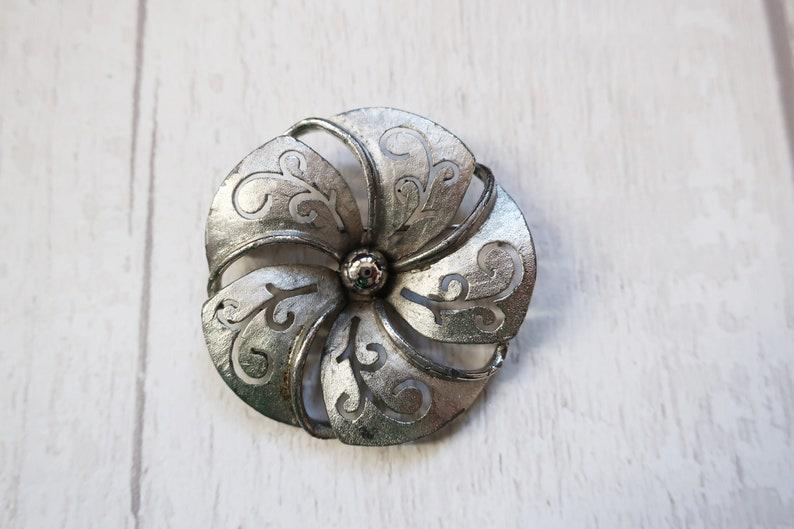 Silver tone flower brooch vintage silver flower pin vintage image 1