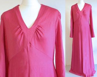 Hot pink 1970s maxi dress, vintage hot pink evening dress, vintage pink long dress