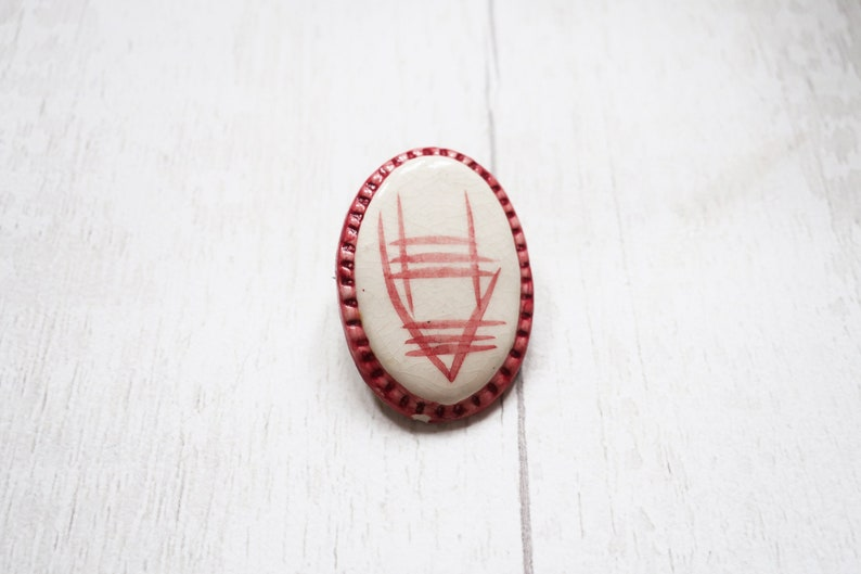Hand painted pottery brooch pottery vintage brooch vintage image 0