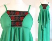 Green 70s maxi dress, bright apple green disco party dress, green vintage hippy peasant dress