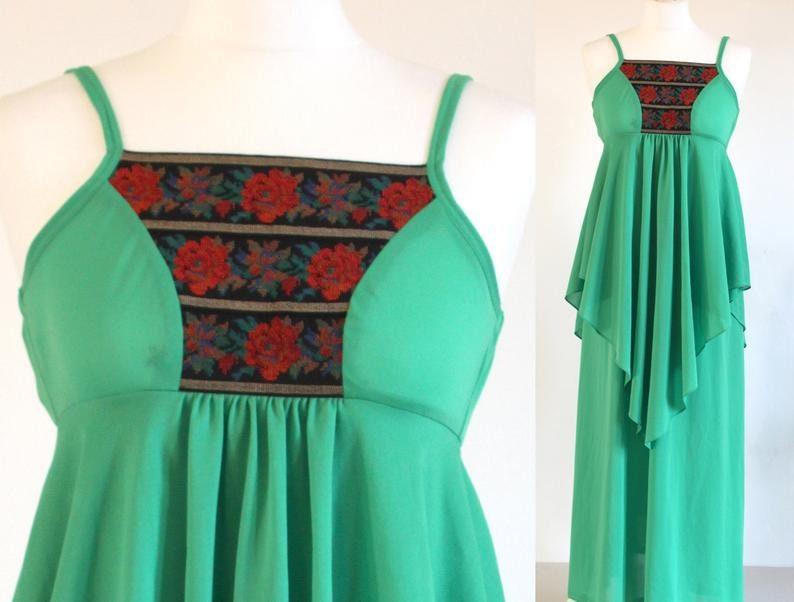 Green 70s maxi dress bright apple green disco party dress image 0
