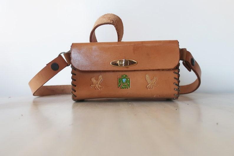 Vintage tooled leather bag vintage brown leather box bag image 0
