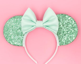 Mint Ears   Aqua   Sequins   Sparkle   Mouse Ears   Custom Ears