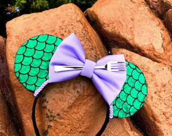 Ariel Inspired | Little Mermaid Ears | Lilac Bow | Holographic