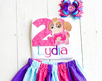 Paw Patrol inspired skye puppy Birthday Outfit- Personalized